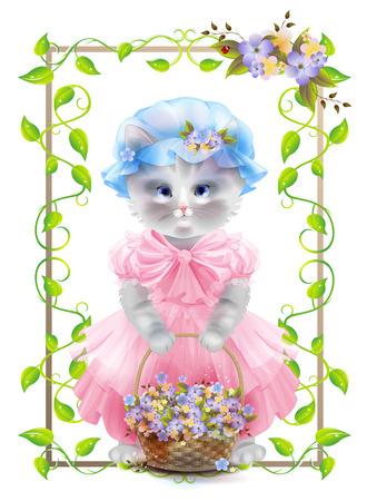 Retrato del gato de la vendimia con la cesta. Tarjeta de cumpleaños. felicitación de vacaciones. Tarjeta de felicitación. Capítulo con hiedra y violetas. Ilustración de vector