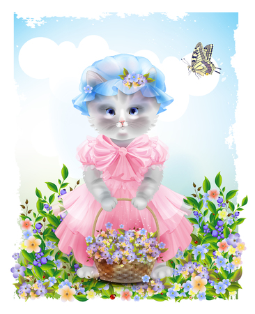 kitty: Portrait of the  funny cat dressed in  the pink frock with basket full of flowers. Summer meadow. Birthday card. Holiday congratulation. Greeting card. Beautiful landscape with butterfly.