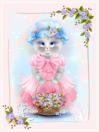flowers cat: Portrait of the vintage cat  with basket full of violets. Birthday card. Holiday congratulation. Greeting card. Floral frame. Illustration