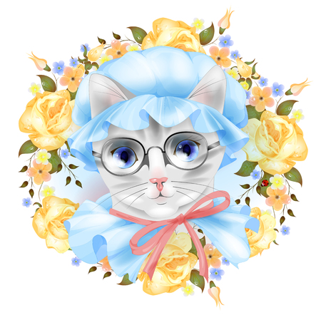 coif: Vintage portrait of the cat with glasses and roses. Victorian style. Illustration