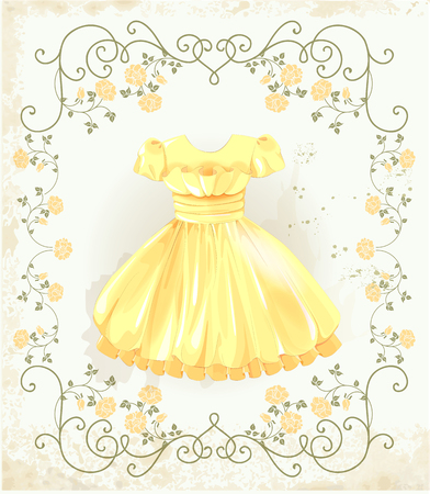 yellow dress: vintage label with yellow dress