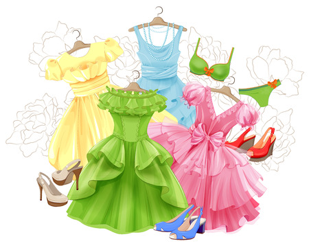underclothes: set of bright dresses, bikini and shoes