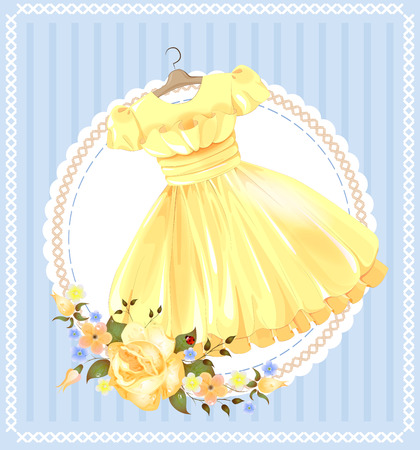 yellow dress: vintage  label with yellow dress Illustration