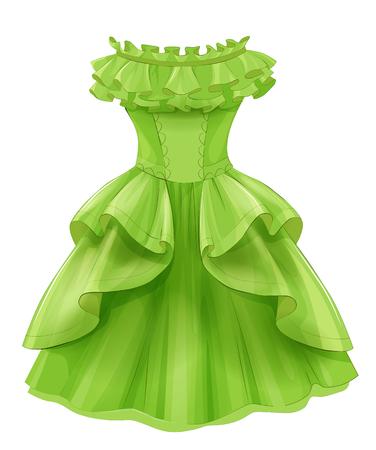 빈티지 녹색 노란 드레스