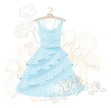 vestido azul de la vendimia y rosas Ilustración de vector