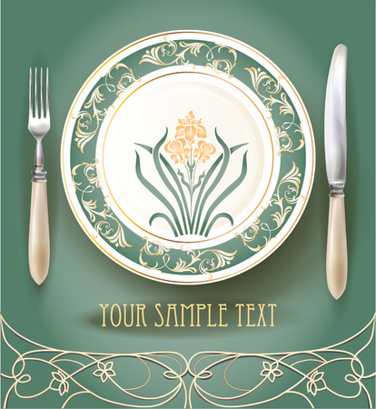 classical: Realistic plate with knife and fork. Menu design template.