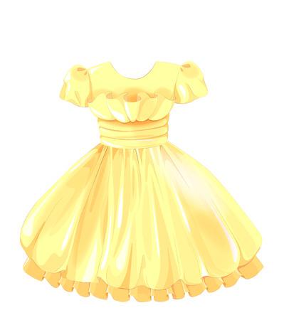 vestido amarillo de seda de la vendimia Ilustración de vector