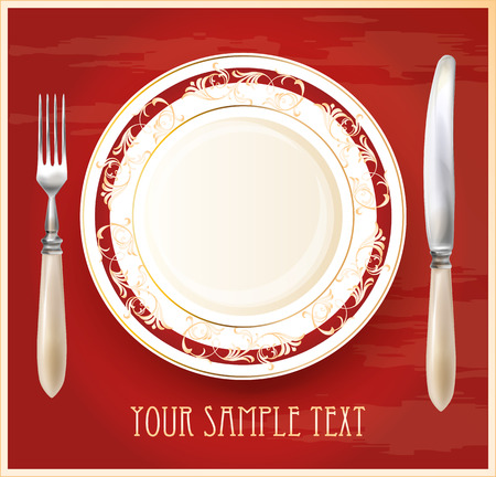 silver ware: Realistic plate with knife and fork. Menu design template.