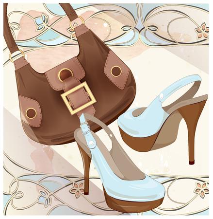 leather goods: Set of handbag and shoes. Fashion boutique. Seasonal sale . Vintage style label design. ladys accessories. Goods for women. Illustration