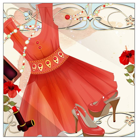 seasonal clothes: Woman  festive, handbag, lip stick and high-heeled shoes. Vintage style label design. Fashion boutique. Seasonal sale . Womens clothing. ladys wear and accessories. Female clothes. Gift coupon.