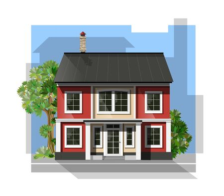 habitation: illustration of  cool detailed family  house.  Private residential architecture. Traditional cottage in flat style. Real estate icon. Villa facade. Vintage style house.