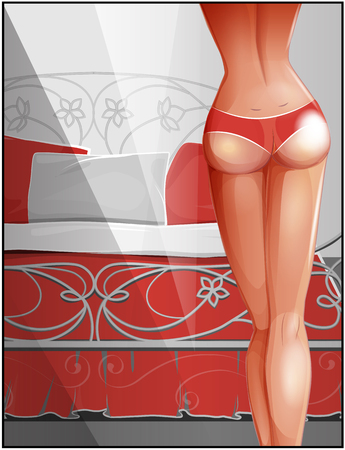 buttocks: Sexy  girl in the bedroom. Female buttocks. Women with perfect tanned body.  Beauty and health.  Ass of beautiful girl. Vintage bed with bedclothes. Illustration