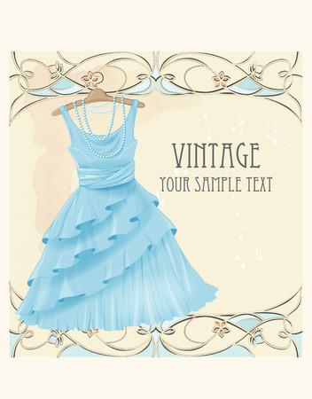 blue dress: Art nouveau  style vintage  label with blue dress Illustration