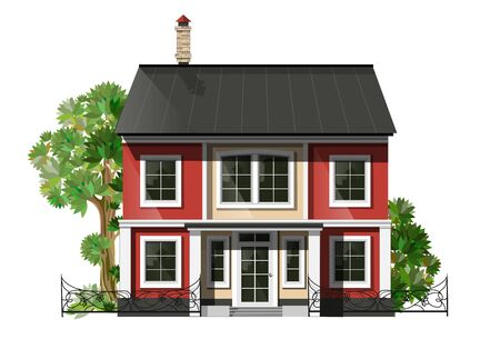 suburban street: illustration of  cool detailed family  house.  Private residential architecture. Traditional cottage in flat style. Real estate icon. Villa facade. Vintage style house.