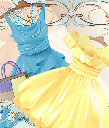 fashion boutique: Woman  festive dresses on a hanger and handbag. Summer party. Vintage style label design. Fashion boutique. Seasonal sale . Womens clothing. ladys wear and accessories. Female clothes. Set of  retro pinup cute woman dresses. Girls dress collection. Gif Illustration