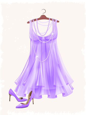 attire: Vintage lilac silk dress and high-heeled shoes.  Dress and shoes for party. Festive women�s attire and accessories.  Fashion cocktail dress on the hanger. Stylish female clothing. Christmas outfit collection