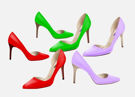 leather goods: Fashion women's colorful high-heeled shoes. Set of high heeled shoes . Stylish girl's footwear. High-heeled  elegant shoes for party. Shoes icon.