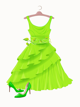 fashion collection: Vintage green silk dress and high-heeled shoes.  Dress and shoes for party. Festive women�s attire and accessories.  Fashion cocktail dress on the hanger. Stylish female clothing. Christmas outfit collection. Outfit for St. Patrick day. Fashion dress deco Illustration