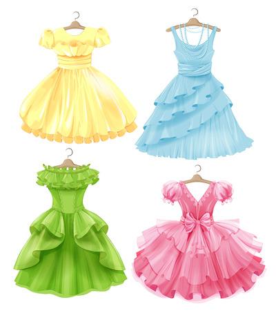 Set of festive dresses for girls. Princess style