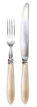 Cutlery. Realistic knife and fork.