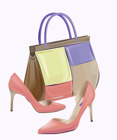 leather goods: Fashion women's handbag and high-heeled shoes. Pair of red high heeled shoes complete with bag from summer collection.  Stylish girl's footwear and accessories. Illustration