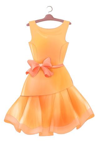 Weinlese-orange Seidenkleid mit rosa Schleife. Outfit für die Partei. Festliche Frauen Kleidung Mode Cocktailkleid auf dem Bügel. Stilvolle weibliche Kleidung. Sommerkleidung. Abendkleid zu feiern Weihnachten und Neujahr. Cocktailkleid.
