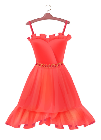 Red dress.  Outfit for party. Festive women�s attire. Fashion cocktail dress on the hanger. Stylish female clothing. Summer clothing. Fancy dress to celebrate Christmas and New Year. Cocktail dress.