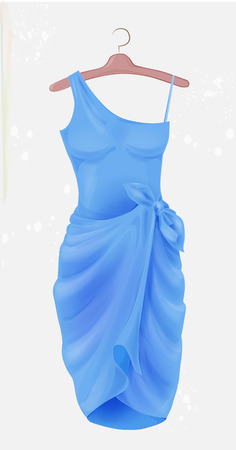 Blue dress.  Outfit for party. Festive women's attire. Fashion cocktail dress on the hanger. Stylish female clothing. Summer clothing. Fancy dress to celebrate Christmas and New Year. Cocktail dress.