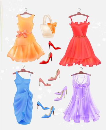 frock: Set of dresses, bag  and high-heeled shoes.  Dresses and shoes for party. Festive women?s attire and accessories.  Fashion cocktail dresses on the hanger. Stylish female clothing. Christmas outfit collection.