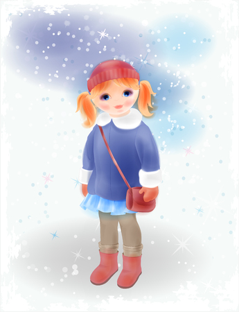 frock coat: Winter girl with bag  in vintage coat and knitted hat. Fashion girl's clothing. Watercolor style.
