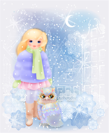 dutch girl: Young girl and fairytale owl in the snowy city. Christmas  and New Year illustration.  Winter in the city. Watercolor style.