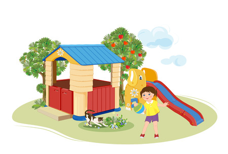 appletree: Girl playing with ball. Playground. Slider and  toy house.