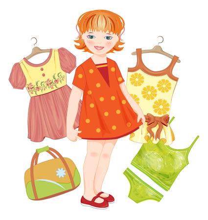 sundress: ginger girl, bag and set clothes for summer Illustration