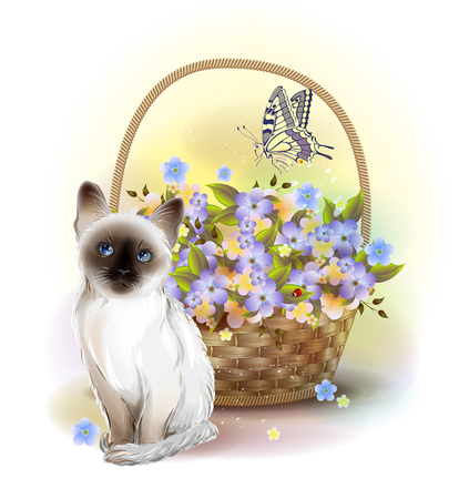 Happy birday card. Siamese kitten, butterfly and basket with violets. Illustration