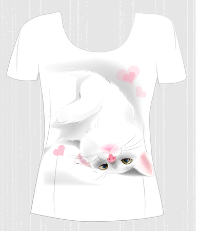 white playful: t-shirt design  with playful white cat and hearts. Design for womens t-shirt. Present for Valentines day Illustration