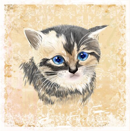 Portrait of three-colored kitten .  House pet. Vintage ornamental background.