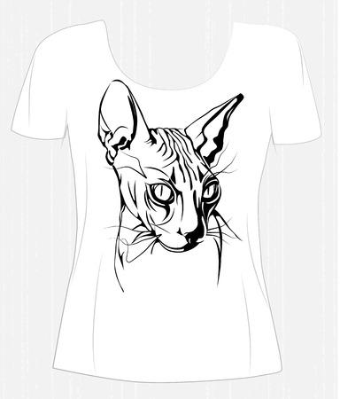 t-shirt design black-white graphic portrait of a sphinx cat.