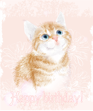 Happy Birthday Card With Little Kitten The Red Marble Coloring