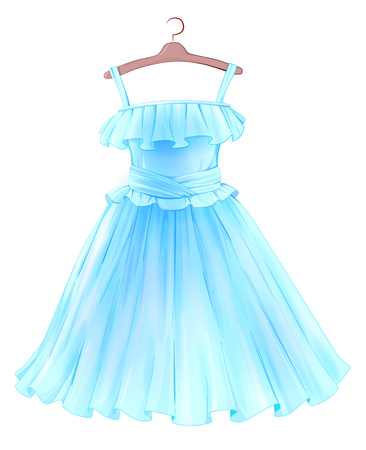 Festive  blue dress for girl. Princess style