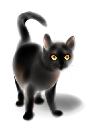 Black kitten. Cat for Halloween design.  Imitation of watercolor painting.