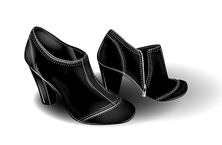 Black high-heeled ankle boots with white stitching. Fashion girl's footwear. Shoes icon. Vettoriali