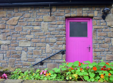 A house with a pink door and a handrail in Mountshannon, County Clare, Ireland. In front are some flowers, nasturtium.