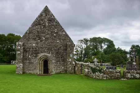 The ruins of an ancient church on Holy Island in Lough Derg in Ireland, County Clare.