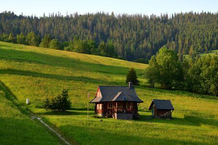 A typical wooden house in Zdiar, Slovakia, in the evening sun with meadows and trees around.