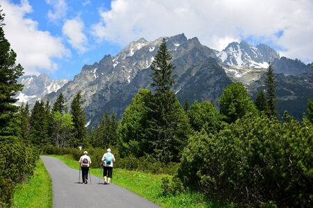 Two elder people with walking sticks on their way to Popradske pleso, with the mountains of the High Tatras ahead. Slovakia. Foto de archivo