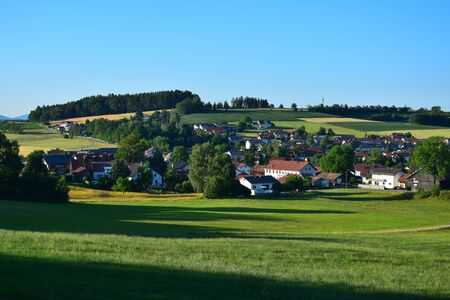 A small town in Bavaria in the summertime. Traitsching, district of Cham, Upper Palatinate.