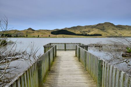 Lake Elterwater, al wildlife refuge in southern Marlborough near Ward. A wooden stage. New Zealand, South Island. 스톡 콘텐츠