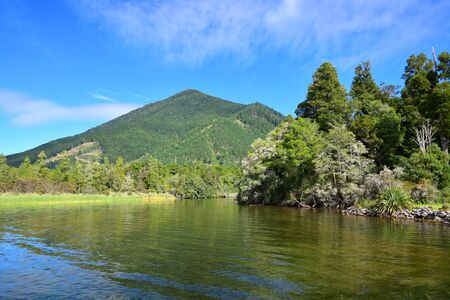 Beautiful Lake Rotoroa with mountains in the background. Nelson Lakes National Park, Tasman, New Zealand, South Island. Stok Fotoğraf