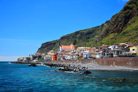 Paul do Mar, a beautiful small town at Madeira, with ocean and mountains. Portugal.