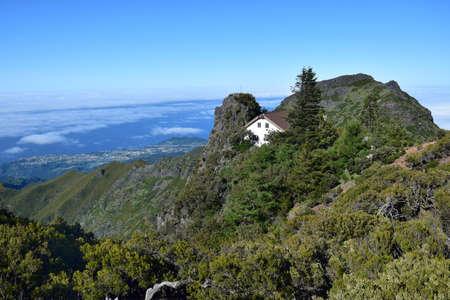 Madeiran landscape with high mountains and Casa de Abrigo, next to Pico Ruivo. Portugal. Stock Photo